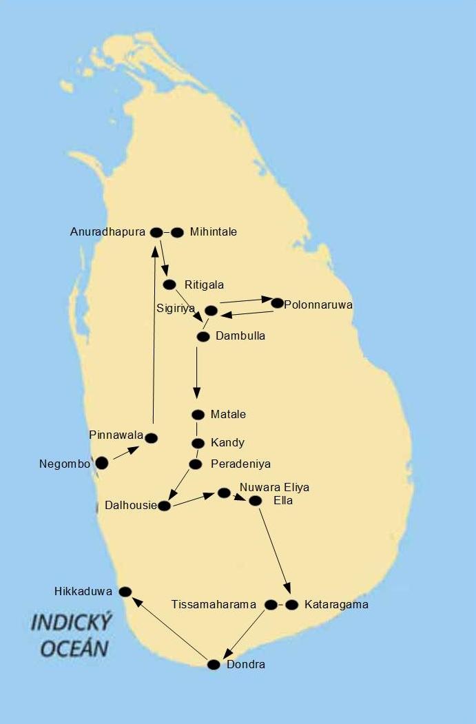 Mapa k jedenáctidennímu okruhu